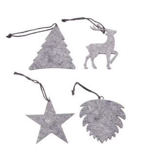 Juletrepynt 8 pk, lys grå