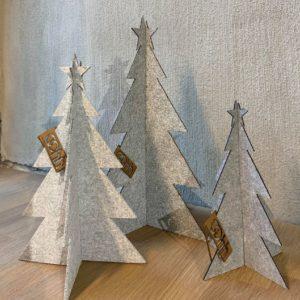 Juletre lite (15 cm), lys grå